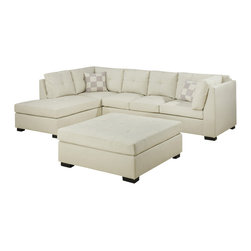 Monarch Specialties - Monarch Specialties 2-Piece Sectional Living Room Set in Ivory - Sectional 1