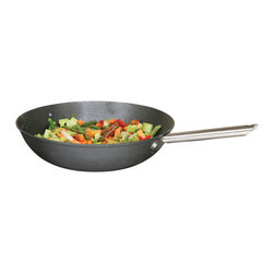 Cookpro - 13-inch Cast Iron Wok with Lightweight Heat - Bring the sizzle without the scale. This pan features a classic, round-wok-shaped base in cast iron so it's perfect for stir frying and quick sautéeing. But it's so lightweight, you don't have to hire staff to help you move it. The metal handles keep it oven safe.