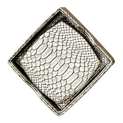 Silver Metallic Anaconda Coaster, Set of 6 - Richly finished in a silver satin tone that gives a lifelike sheen to snakeskin texture, the Silver Metallic Anaconda Coaster is an essential for entertaining and casual living, but a distinctive luxury in its design. This attractive set of six coasters is suitable for energetically minimalist spaces, notably masculine rooms, or opulent homes with a sensory twist.