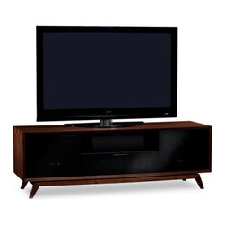 BDI - Eras 8357 TV Stand - The Eras 8357 TV Stand has a mid-century modern design, which is sure to alleviate the eye-sore that is normally associated with media stands. The walnut exterior and splayed leg combined with the cable management, adjustable shelves, and ventilation make a sure pick for your home.