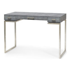 Kathy Kuo Home - Avalon Hollywood Regency Faux Shagreen Charcoal Silver Leaf Desk - Simple, stylish form meets modern function in the charcoal grey, faux shagreen desk. Shimmering silver leaf highlights the frame that beautifully supports the rectangular, spacious desktop. Three drawers with square silver pulls elegantly hold all of your essentials.