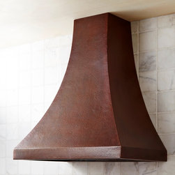 Chalet Copper Range Hood  in Antique - Chalet's gentle curves turn a copper kitchen range hood into an elegant silhouette. Wrought from high-quality recycled copper, the hand hammered copper texture of this artisan crafted, professional grade range hood exemplifies getting away from it all - through centuries-old artisan tradition. Each Native Trails copper range hood comes equipped with a chef quality ventilation system.