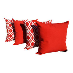 Land of Pillows - Nicole and solid Lipstick Red and White INDOOR Throw Pillows - Set of 4, 20x20 - Fabric Designer - Premier Prints