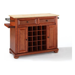 Crosley Furniture - Crosley Furniture Alexandria Natural Wood Top Wine Island in Classic Cherry - Wine lovers will entertain in style with Crosley's Kitchen Wine Cart.  Whether you're a connoisseur of fine wines or simply a casual fan, Crosley's Kitchen Wine Cart offers the utmost in entertaining convenience.  The cabinet features a 20-bottle wine rack and side-mounted 3-bottle wine valet and the top provides ample surface space for presentation of your wine and cheese alike. Raised panel doors conceal the adjustable inner shelving and two sliding drawers provide several options for storage. Wine cabinets come in one of four signature Crosley finishes featuring one of four surfaces - including wood, stainless steel or solid granite.