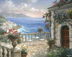 Murals Your Way - Mediterranean Elegance Wall Art - Flowers in old-world urns are scattered about a terrace that overlooks the blue water of the Mediterranean