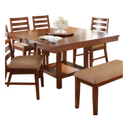 """Steve Silver Furniture - Steve Silver Eden Dining Table with 18 Inch Lazy Susan in Light Cherry - The Eden Dining collection is designed for those striving for simplicity with style! The light cherry finish is inviting and the 18"""" round lazy Susan (included) makes serving simple. The table seats 4 to 6 comfortably and includes a removable 16"""" leaf. Pair this table with the comfy Eden bench, side chairs, or both. The table measures 52""""W x 36""""L x 30""""H without the leaf and 52""""W x 52""""L x 30""""H with the leaf."""