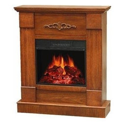 WORLD MARKETING - ELECTRIC FIREPLACE 32IN VOAK - Flat wall design with a vintage oak finish and country charm, makes this piece a compliment to any setting. Assembles in less than 30 minutes, hand held remote control, premium firebox and log set. Real flame look, flame intensity control, heater with cir  culating blower. 1500 watts,  heats up to 700 square feet. 8.3�L x 32�W x 37.8�H.          BTU's=4,600  This item cannot be shipped to APO/FPO addresses.  Please accept our apologies