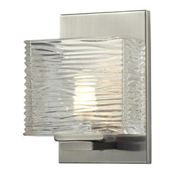 Z-Lite - Z-Lite Jaol 1 Light Vanity Light X-V1-4203 - Rectangular glass shades with horizontal textured lines soften the bright light of the Jaol vanity family. The flat arm design exudes a contemporary design finished in finely brushed nickel, rich bronze and highly polished chrome.