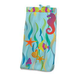Tropical Seas Diaper Stacker - Baby boys and girls will adore this Tropical Sea Diaper Stacker made with designer print swimming with seahorses, kissing fish, seaweed and starfish. This item is completely made of cotton poplin.