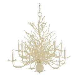 Currey and Company - Seaward Chandelier - Seaward is a wonderful rendition of a faux coral chandelier. The off-white finish is enhanced with a natural looking application of sand.