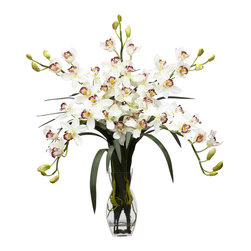 """Nearly Natural - Nearly Natural Cymbidium Orchid Silk Flower Arrangement in White - With its rich and varied colors, the Cymbidium (or boat Orchid) makes for a fantastic, bold addition to any decor. Incredibly vibrant and realistic in look, the Cymbidium truly shines when prominently displayed in the included vase (complete with """"liquid illusion""""), and its wide bloom of flowers is sure to brighten any room. Whatever the setting, this arrangement of Cymbidiums will bring a smile to anyone's face."""