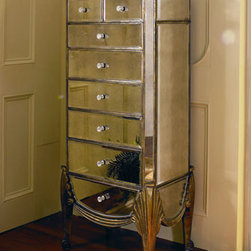 "Horchow - Claudia Mirrored Jewelry Armoire - Made of selected hardwoods covered with antiqued mirror glass and silver and gold leaf. Has six drawers, one side storage compartment, and a lift-up-lid for additional hidden storage. 23""W x 17""D x 53""T. Imported."