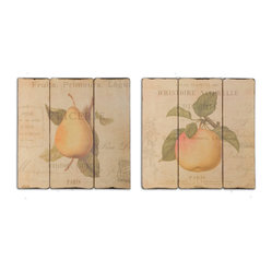 Uttermost - French Fruit Wall Art, Set of 2 - These beautiful oil reproductions of fruit will help you remember the food pyramid. So luscious, you'll want to pluck them from the tree, the plaques are distressed to add a look of antiquity.