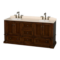 Wyndham Collection - Rochester Bathroom Vanity in Cherry, Ivory Marble Top, UM Sinks, No Mirrors - Old world charm meets modern functionality with the Rochester line of traditional bathroom vanities. Designed to look great in any setting, from modest country home to palatial estate, the Rochester vanities will revive and renew your personal sanctuary. Natural stone tops give a touch of additional luxury and the antique bronze hardware adds the finishing touch. The down-to-the-floor base imparts a sense of weight and grandeur, while ample cupboard and drawer storage ensures the quality and practicality that the Wyndham Collection is known for.