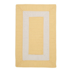 Colonial Mills, Inc. - Indoor/Outdoor Rope Walk, Yellow Rug, Sample Swatch - Buttery yellow and bright white lend a breezy, sun-drenched vibe wherever you throw this rug. Stain and fade resistant, it's as durable as it is stylish.