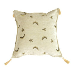 Pillow Decor - Pillow Decor - Compass Stars Pillow - Compass stars and crescent moons float dreamily on the milky white chenille background. Cream colored tassels add the final touch to a very inviting pillow.