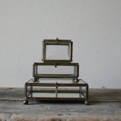Vintage Glass Box Collection By No Carnations Home - This little vintage glass shadow box collection would be perfect for mom to sit on her dresser. It can hold extra buttons, a special pearl necklace, a small photo or a lock from a first haircut. Curating your collection always makes it more special.