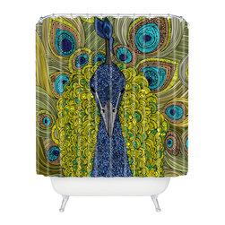 DENY Designs - Valentina Ramos Mr Pavo Real Shower Curtain - Who says bathrooms can't be fun? To get the most bang for your buck, start with an artistic, inventive shower curtain. We've got endless options that will really make your bathroom pop. Heck, your guests may start spending a little extra time in there because of it!