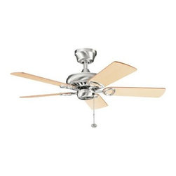 """Kichler - Kichler 337013BSS Sutter Place 42"""" Ceiling Fan in Brushed Stainless Steel - blad - A transitionally styled ceiling fan available in many finishes. A fan that can be fit into any room, no matter what it's d�cor.Blades and Downrod Included Compatible with Kichler optional controls Light Kit Compatible cUL Listed for Dry Location Not low ceiling adaptableBlade Finish: Light Oak Medium Oak Blade Material: MDF Blade Pitch: 12 Blade Span: 42 Blades Included: Yes CFM: 3774 CFM (Hi): 3774 CFM (low): 1664 CFM (med): 2923 Collection: Sutter Place Control Type: Pull Chain Downrod(s) Included: Yes Energy Star Compliant: No Finish: Brushed Stainless Steel Height: 12-3 5 Light Kit Compatible: Yes Motor: AC Induction Motor Diameter: 10-1 4 Motor Size: 153mm x 13mm Number of Blades: 5 RPM (High): 230 RPM (Low): 103 RPM (med): 173 RPMs: 230 Shop By Style: Transitional Speeds: 3 Suggested Room Fit: Dining Room, Entry Foyer, Living Room UL Listed: Dry Location Wire Length: 78"""