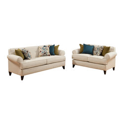 """Benchley - 2-Piece Bonnie Ivory Fabric Upholstered Sofa and Love Seat Set - 2-Piece Bonnie ivory fabric upholstered sofa and love seat set with rounded set back arms and piping trim accents. Sofa measures 88"""" x 38"""" x 36"""" h. Love seat measures 65"""" x 38"""" x 36"""" h. Chair and ottoman also available separately. This set comes as shown or available in wine or sea colors also."""