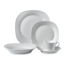 Ten Strawberry Street Ltd. - Square White Porcelain 45-Piece Dinnerware Set - You'll create an elegant table presentation every time with this white porcelain dinnerware with squared off edges. Its sleek shape and contemporary appeal will make both everyday dining and formal gatherings something special.