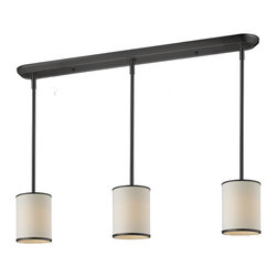 Z-Lite - Z-Lite 3 Light Island/Billiard - Elegant and contemporary best describe this beautiful three light fixture. Finished in bronze and paired with cream shades, this three light fixture would be equally at home in the game room, or anywhere else in the house needing a touch of timeless charm. Adjustable rods are included to ensure the perfect hanging height.