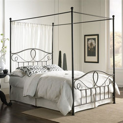 Leggett/Platt Fashion Bed - Sylvania Canopy Bed in French Roast (Queen) - Choose Bed Size: QueenIncludes bed only. Canopy Kit not included. Bedding not included. Ball finials. Juxtaposes flourishing scroll work. Round scroll become flat at post. Straight spindles for special look. Bed with frame. Made from iron. Made in Vietnam. Assembly requiredWithout optional canopy:. Full: 82.75 in. L x 55 in. W x 53 in. H (63 lbs.). Queen: 88 in. L x 62 in. W x 53 in. H (75 lbs.). King: 88 in. L x 78 in. W x 53 in. H (80 lbs.)With optional canopy:. Full: 82.75 in. L x 55 in. W x 83 in. H (80 lbs.). Queen: 88 in. L x 62 in. W x 83 in. H (94 lbs.). King: 88 in. L x 78 in. W x 83 in. H (106 lbs.)The top of the headboard and footboard are visually enticing as iron tubing of differing diameters loop and scroll across the breadth. Adding to the visual excitement, the round scrolls become flat at each post, becoming a round form again as they join the spindles. Sylvania Iron Bed is suitable for any bedroom. This bed requires the use of a box spring in addition to a mattress.