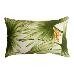 Pillow Decor - Pillow Decor - Palm Leaf Decorative Pillow - Green palm fronds spread out across this tropical throw pillow. Golden brown coconuts provide a touch of additional color and warmth. Made from a durable cotton blend fabric, this cheerful accent pillows will transport you to a tropical oasis.