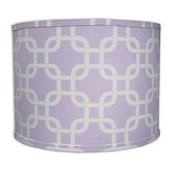 Doodlefish - Large Links Lilac Shade - Beautiful Doodlefish Lilac and White Links fabric covers this sleek barrel Lamp Shade. The shade is available in 12x12x10 and 14x14x11. All shades are made to order in the USA and have harp and finial style fittings