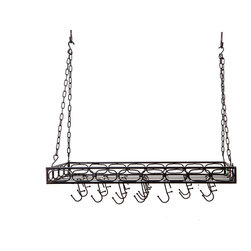 "36"" x 17¾"" x 3¾"" Matte Black Medium Gauge Rectangular Hanging Pot Rack - Matte Black Rectangular Hanging Pot Rack. Get your cookware up, out of the way and on display!  Includes 16 hooks, hanging chains and mounting hardware. Study Steel construction with a hand-applied Antique finish.  36""Lx 17¾""W x 3¼""H."