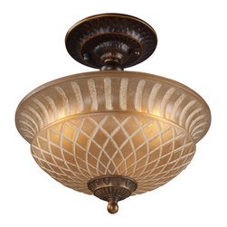 Elk Lighting - EL-08097-AGB Restoration 3-Light Semi-Flush in Golden Bronze - A grouping of ceiling lighting developed with a discriminating concern for preserving historic lighting and architectural designs. This offering of expert restoration and replication fixtures is offered in a wide variety of styles and sizes.