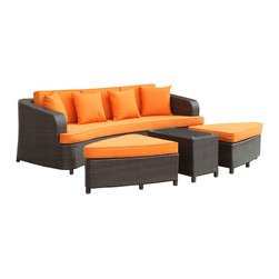 Modway - Monterey Sofa Set EEI-992 Brown Orange - Sofas were never meant to stand alone. The fact that they often reside without ottoman or table, is a mimicry against true comfort and relaxation. Monterey reminds us that the sofa experience should be a lesson in arrangements, not solitude and empty spaces. With two rounded triangular ottomans, and a cozy little coffee table, Monterey naturally blends leisure together with steady repose. A set made for the outdoors, the cushions and synthetic rattan base are built to withstand all weather conditions.