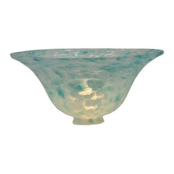 Meyda Tiffany - Teal Dapple Bell Shade - Victorian theme. 10 in. Dia. x 4.25 in. H