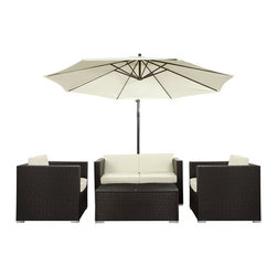 Concord 5-Piece Outdoor Patio Sofa Set - Sweet summers with lush green foliage complement the Concord outdoor set with artful precision. The perfectly positioned umbrella offers shade for those desiring a little relief from the sun. Make your gathering place known as a vacation destination for its natural beauty and peaceful atmosphere. Concord is comprised of UV resistant rattan, a powder-coated aluminum frame and all-weather cushions. The set is perfect for cafes, restaurants, patios, pool areas, hotels, resorts and other outdoor spaces.