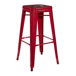 Linon - Red Square Metal Bar Stool - Set of 2 - Set of 2. Red Finish. Fully Assembled. Weight Limit: 275 lbs. 30 in. Bar Height. 16 in. W x 16 in. D x 30 in. H (24.7 lbs)Mixing contemporary design with industrial flavor, the Red Square Metal Stool is a trendy seating addition. Crafted from heavy duty steel, the stool has a stationary seat and multiple footrests for added comfort. The bright red finish will add a pop of eye-catching color to your decor. Perfect for pulling up to a counter, bar or high top table.