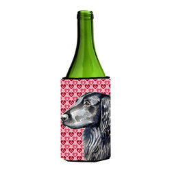 Caroline's Treasures - Flat Coated Retriever Love Valentine's Day Portrait Wine Bottle Koozie Hugger - Flat Coated Retriever Hearts Love and Valentine's Day Portrait Wine Bottle Koozie Hugger Fits 750 ml. wine or other beverage bottles. Fits 24 oz. cans or pint bottles. Great collapsible koozie for large cans of beer, Energy Drinks or large Iced Tea beverages. Great to keep track of your beverage and add a bit of flair to a gathering. Wash the hugger in your washing machine. Design will not come off.