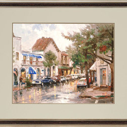 Paragon Decor - Rainy Day in Carmel Artwork - Rain softens the edges of this quiet street scene.  Matted in pale laurel and deep timber.  Framed in aged silver wood with dark wood face.