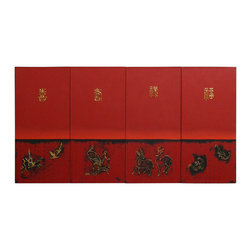 """China Furniture and Arts - Contemporary Oil Painting Wall Hanging - Good luck, prosperity, longevity, and happiness are considered the four essential elements of a good life in Chinese culture. The four characters representing these ideas are hand-painted with oil on canvas. Vibrant and bold, this contemporary Chinese art is sure to bring Asian flair to anywhere it is displayed. 4 panel set; each panel is 11.75""""W."""