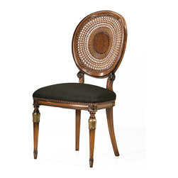 """Inviting Home - Louis XVI Style Chair - Louis XVI style beechwood side chair with hand-caned backy; overall dimensions: 20""""W x 19""""D x 39-3/4""""H; seat: 20""""W x 19""""D x 20""""H; back: 39-3/4""""H; hand-made in Italy; Louis XVI style beech wood chairs with hand-caned backs hand-rubbed antiqued walnut finish antiqued silver leaf accents. Chairs have black muslin upholstery. These carved wood chairs are hand-crafted in Italy."""