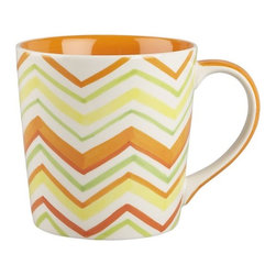 Citrus Zig Zag Mug - The fantastically fun chevron print took off last year and is showing no signs of slowing down anytime soon. So grab a fun chevron mug, painted orange on the inside, and brighten up your morning cup of joe.