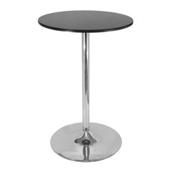 """Winsomewood - Spectrum Pub Table, 28"""" Round Black with Chrome Leg - New Spectrum Pub Table is designed to match the airlift stools in this line. The table top is made of sturdy MDF material and is 24"""" in diameter. The base is chrome. The 40"""" height is perfect for entertaining and casual dining. Ships ready to assemble with tools and hardware."""