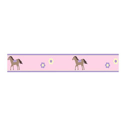 "Sweet Jojo Designs - Pretty Pony Wall Paper Border (15' x 6"") - Pony up! Your best girl will love this pink and purple border in her room — and you'll love that the paper is pre-pasted for easy application."