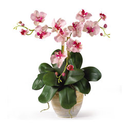 """Nearly Natural - Nearly Natural Triple Mini Phalenopsis Silk Orchid Arrangement in Pink White - Three times the splendor - that's our 20""""; Triple Mini Phalaenopsis Silk Orchid Plant! It's Perfect for smaller shelves or areas where our taller silk arrangements won't fit, yet it offers all of the same features such as three stems of full-blooming silk flowers and buds, bamboo stakes to support the stems, and plenty of lush foliage and aerial roots. It comes expertly arranged in a lovely ceramic pot, ready for display."""