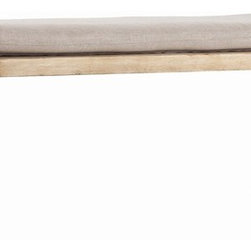 Arteriors - Atlas Bench/Cocktail Table - This natural wood and iron bench has a rustic simplicity that complements many of today's most popular styles. The curved cast iron legs are inspired by a late 19th century workbench from a Scandinavian factory. The whitewashed plank seat is topped off with a natural linen cushion.