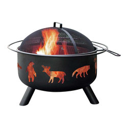 Landmann - Firepit w Wildlife - Black Finish - Wildlife in your own backyard!  This fire pit has a wildlife theme with screened cut outs that provide a 360-degree view of the fire.  You also get a screen cover and fire poker.  Pit has a black sand painted finish. * Unique and stylish decorative cutouts create an incredible ambiance at night. Sturdy steel construction designed for easy assembly. Offers 360° viewing of the fire. Full-size enamel cooking grate included. Large 23.5 in. diameter bowl. Full-diameter handle. Spark guard cover and poker included. Black color. Sand paint finish. Bowl Diameter: 23.5 in.. 29.5 in. L x 29.5 in. W x 23 in. H