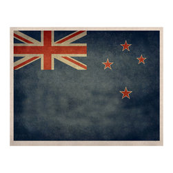 """Kess InHouse - Bruce Stanfield """"Flag of New Zealand"""" Blue Naturals Canvas (24"""" x 36"""") - Display your favorite KESS Naturals Canvas with organic elegance. KESS InHouse is proud to feature our entire artist gallery as the KESS Naturals collection. These unique artworks are recreated on a recycled burlap using only eco-friendly inks. They have a rustic fabric feel that we suggest framing without glass to fully convey the luxe texture of these prints. This eco-friendly material has been used by artists for centuries as an alternative to canvas. Upon ordering you will receive the artwork frameless to give you the best possible shipping and framing flexibility."""