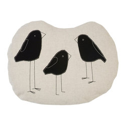 k studio - Birds Pillow, Natural - Designed by Shelly Klein Materials: Natural organic cotton with black applique and off white stitch. 90/10 feather/down insert. Made in the USA. Dry clean only.