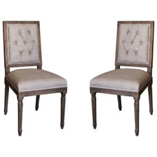 Dining Chairs nuLOOM Casual Living Weathered Vintage French Upholstered Linen Dining Chairs (S