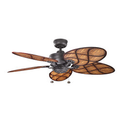 """Kichler Lighting 320510DBK Crystal Bay Black 52"""" Ceiling Fan - Lamp Not Included; Fan Control: 3-Speed Pull Chain; Weight: 22lbs"""