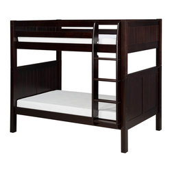 """Camaflexi - Bunk Bed with Panel Headboard - Cappuccino Finish - When your family is growing and your space is not, Camaflexi's ultra durable Bunk Bed collection offers the perfect solution. Constructed of solid wood, the upper bunk features front and rear safety guard rails. Both beds include slat roll foundations reinforced with our unique, extra sturdy, center rail support system. The attached extra wide, grooved step Ladder and safety guard rails are interchangeable so you can position the ladder where you need it. All of our Bunk Beds are built to meet and/or exceed all government and industry safety standards for your ease of mind and to ensure longevity. The timeless Panel style, with our rich, """"child-safe"""" multi-step, protective cappuccino finish, will complement any room decor. Optional trundle and/or storage drawers add to this bunk's utility. Choose between open or closed foot boards with the addition of modesty panels. When needed the bunk can be separated into two individual twin beds. Flexibility is what we are all about! The Camaflexi system offers the best in sturdy, eco-friendly and healthy furniture for your growing child's needs. The attached ladder allows easy access to Storage Drawers or Under Bed Trundle! (Drawers and Trundle Purchased Separately.) Featured in the classy Panel Style to compliment your room decor. Shown in our child safe, cappuccino protective finish. Both beds include a slat roll foundation, with our unique extra sturdy center rail support system for added longevity. Features our unique extra deep grooved steps on ladder for added safety and comfort when climbing. Meets and/or exceeds all ASTM and U.S. Government safety standards for Bunk Beds. Covered by our One Year, Peace of Mind warranty, covering manufacturing related defects. Constructed of 100%, all natural, solid wood. Verifiable sustainable wood source, both Eco and People Friendly. Under bed clearance from bottom of bed rail is 11 1/2"""". Clearance between top and bottom"""